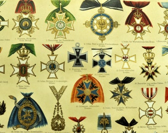 1895 Brilliantly Coloured Illuminated Chromolithograph of Important Medals and Decorations.