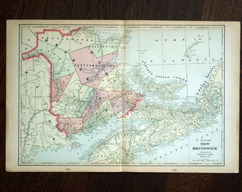 1901 Antique Map of New Brunswick, Canada - Large map