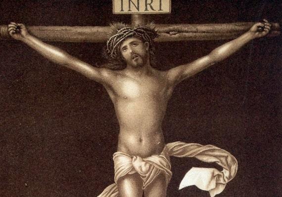 1894 German Antique Print of Christ on the Cross, by Albrecht Durer