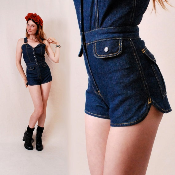 Vintage SEXY Denim Overalls xs/s - Fredericks of Hollywood, high waisted shorts, playsuit onsie, cowgirl costume - FREE Worldwide Shipping