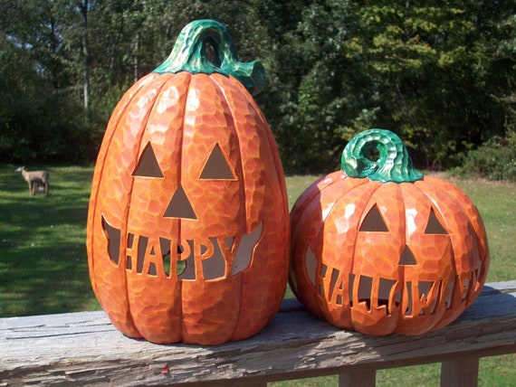 Happy Halloween Light Up Ceramic Pumpkins