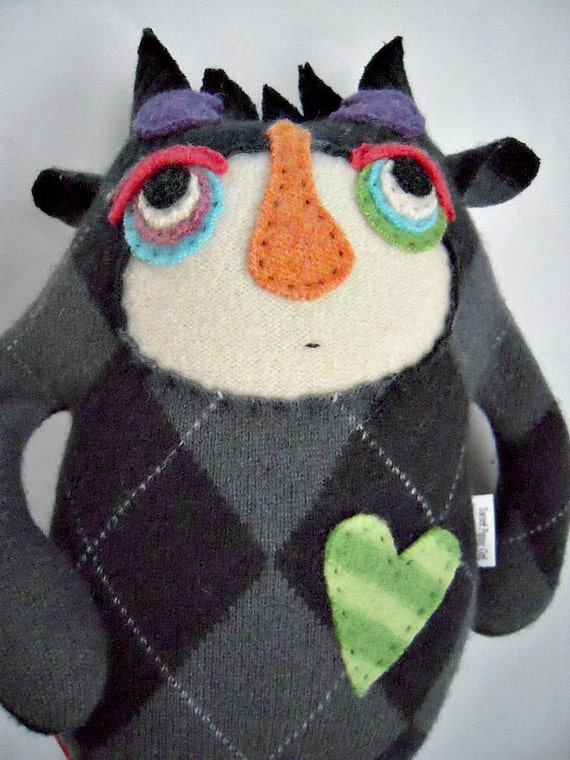 Stuffed Animal Monster Argyle and Striped Wool Sweater Repurposed