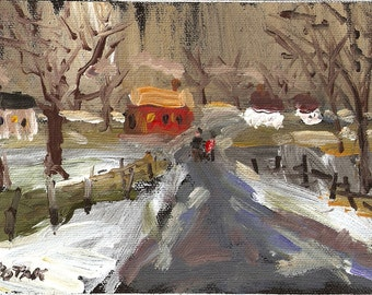Acrylic  original painting of Winter Scene on canvas by Russ Potak