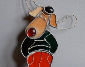 Holiday Moose Stained Glass Suncatcher