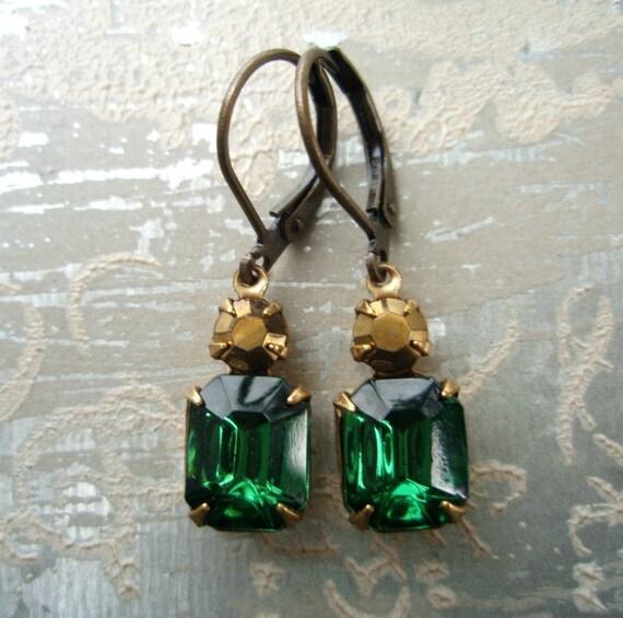 Victorian Earrings - Petite Crystal Earrings - Downton Abbey Jewelry - Emerald Green Jewellery - REGENCY Emerald