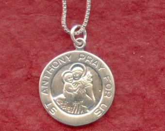 Sterling Silver St Anthony Necklace, 925 Charm Pendant and Chain Lost Saint