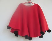 Bright Red Poncho - Frock -  with Large Black  Ball Trimmed Edge