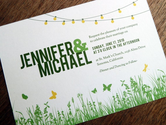 Outdoor Wedding Invitation Wording: Printable Wedding Invitations Garden Party String Lights