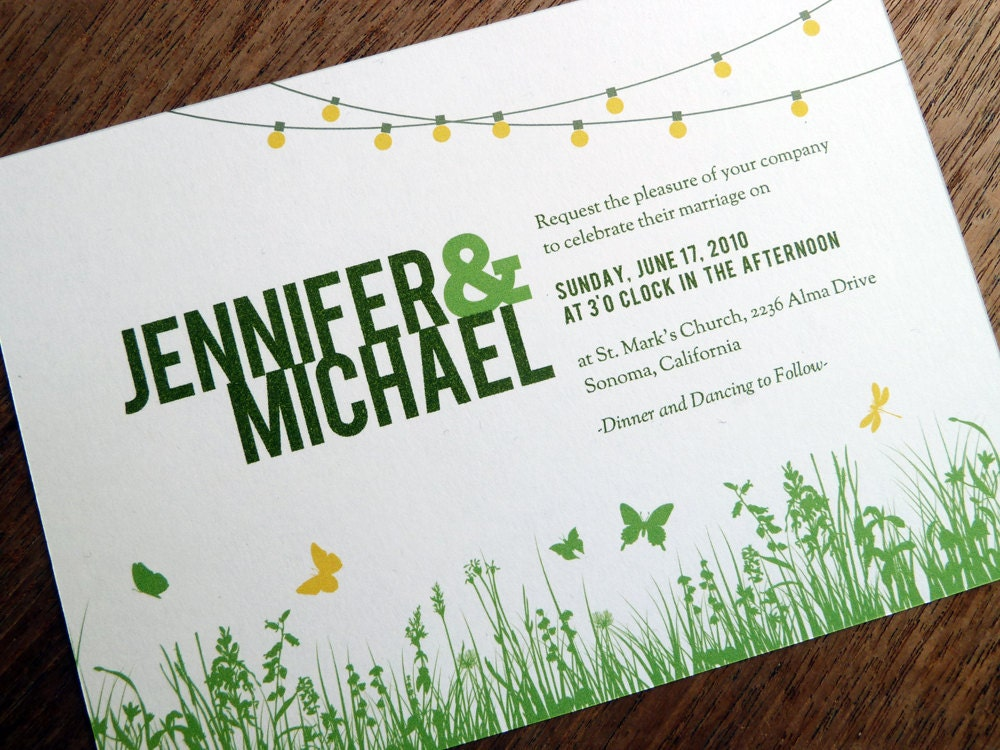 Printable Wedding Invitations Garden Party String Lights – Garden Party Wedding Invitations