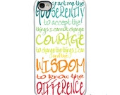 On Sale! Colorful Serenity Prayer with White or Black Sides iPhone Case - IPhone 4, 4S, 5, 5S, 5C Hard Cover - Unique Trendy - artstudio54