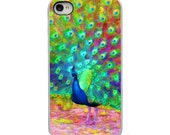 On Sale! Painted Peacock Feather Bird with White, Black or Clear Sides iPhone Case - IPhone 4, 4S, 5, 5S, 5C Hard Cover  - artstudio54