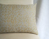 Metallic gold leopard hand block printed on warm gray linen decorative modern home decor pillow case