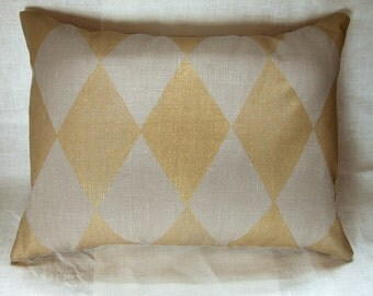 metallic gold on warm gray harlequin geometric hand block printed linen home decor decorative pillow case