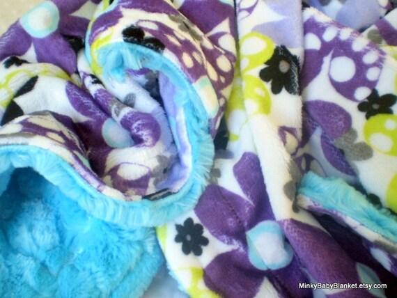 """Minky Baby Blanket - Purple Dot's N Daisies - Topaz Minky Swirl - Double Minky Blanket - Stroller Size 30"""" x 30'"""""""