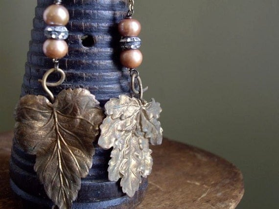 Antique French Gilded Toleware Leaf Earrings
