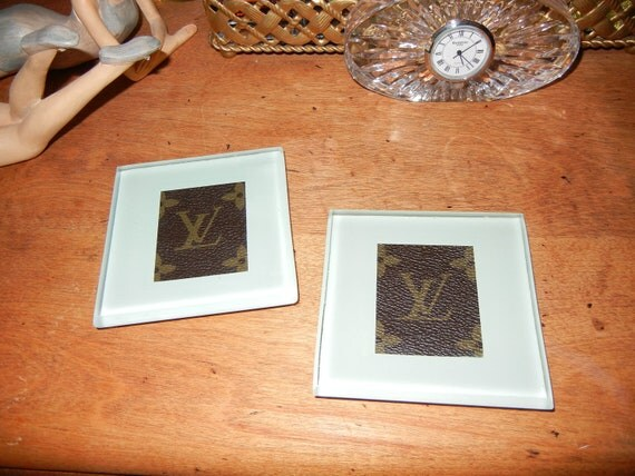 Louis Vuitton glass block coasters - OOAK upcycled by Posh Rock Vintage