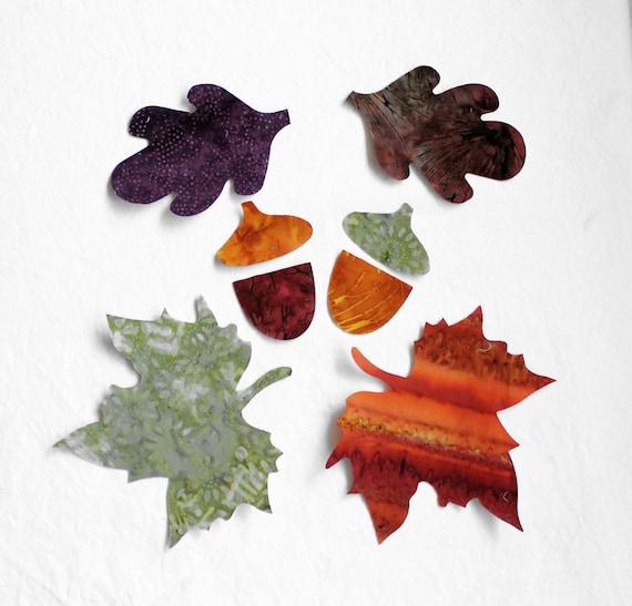 36 piece Fabric Applique Iron-ons Batik Maple Leaves, Oak and Acorns