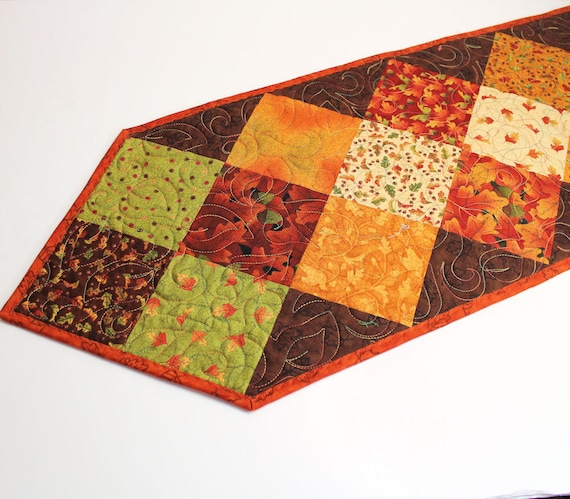 Autumn Fall Table Runner Quilt in Gold, Brown and Green