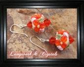 Orange Flower Lampwork Earrings