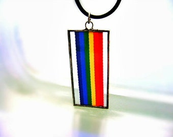 Rainbow Flag Gay Pride Lesbian Glass Ornament Pendant Same Sex Wedding Yule Memorial Remembrance Wedding Birthday Friendship