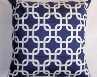 Summer SALE - Throw Pillow Cover, Gotcha Twill in Navy Blue & White Accent Pillow Cover, Handmade Decorative Pillow Cover - LAST ONE