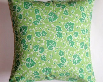 Throw Pillow Cover, Pretty Ivy Vines in Spring Green Throw Pillow Cover, Handmade Cushion Cover, Decorative Green Floral Throw Pillow Cover