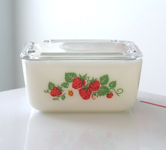 RESERVED - McKee Strawberry Small Refrigerator Dish