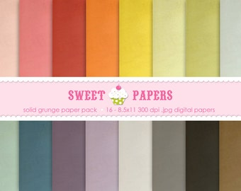 Solid Grunge Digital Paper Pack - Commercial or Personal Use - by Sweet Papers