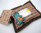 I Spy Bag - Wipeable, Personalized, ABCs and Colors - - Brown Argyle Dinosaur