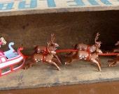 Vintage Christmas Kitsch Shiny Brite Santa Sleigh and Reindeers