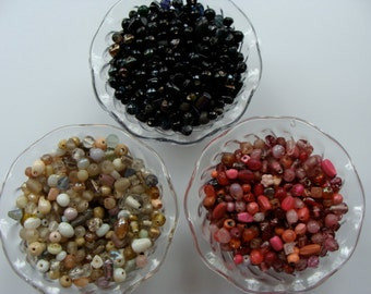 Vintage Glass Beads Mixed Lot 60 pcs.  Vintage Jewelry Supplies