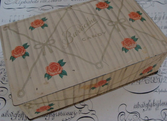 Antique 1950s  Hinged  Candy Box Tin