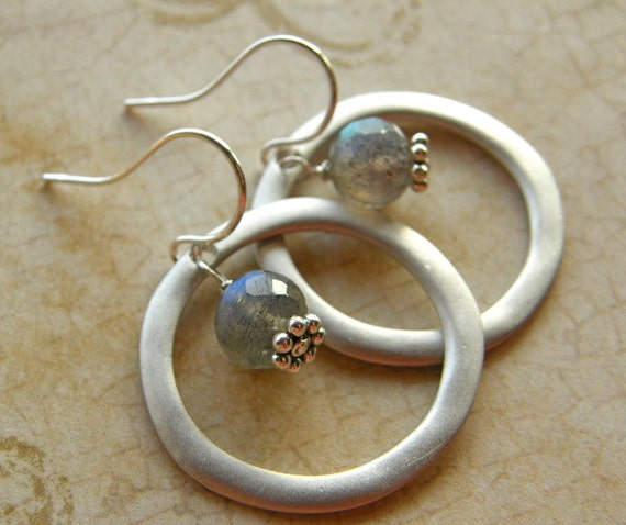 RESERVED FOR SHAY - Labradorite Silver Circle Earrings, Silver Hoops, Labradorite Drop Earrings