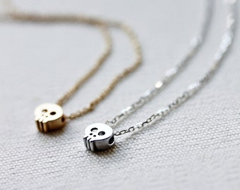 Mini Gold or Silver Skull Necklace- Gold filled/Sterling silver chain,Simple,Everyday Jewelry, Sweet 16 Gift,Handmade by Maki Y design