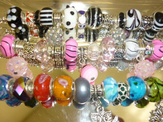 Pandora Style Beads 5 Beads Murano glass beads Crystal beads Spacer silver beads