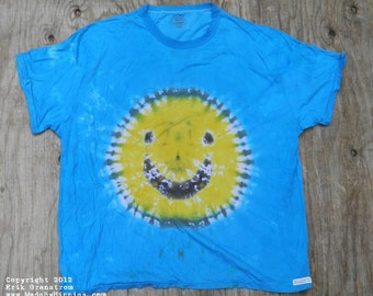 Yellow Smiley on Blue Tie Dye T-Shirt (Puritan Size 3XL) (One of a Kind)