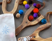 Wood Toy Slingshot with Pom Poms - TweetToys