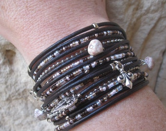 Multistrand Wrap Bracelet- Chunky Leather Cuff-Modern Rustic Wrap- Pink, Brown & Silver- Choose 4 Charms - Best Selling Item - Customizable