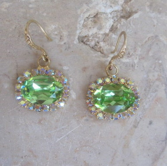 SALE Swarovski Crystal Earrings, Oval Peridot Crystals on 14K Gold Filled Ear Wire, was 48 now 25 Dollars