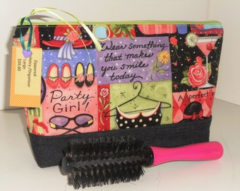 Cosmetic/Toiletry Bag / Zippered Party Girl Travel / Storage / Organizer /