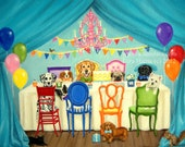8x10 The Birthday Paw-ty Fine Art Giclee Print by LARA