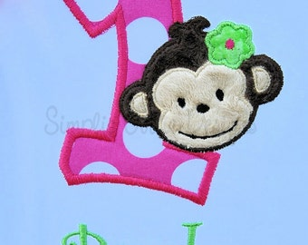 Girl's monkey birthday bodysuit or shirt. Personalized. Can customize to your party colors.