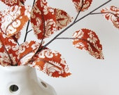 Fabric Leaves- Burnt Orange and Cream Damask Branches Autumn Tabletop (set of 3)