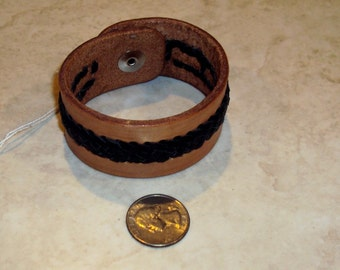 Leather applique braid cuff bracelet
