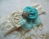 Fabric Flower Headband / Rolled/ Rosette