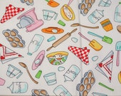 Fat Quarter Colorful Whimsical Kitchen and Baking Items Print