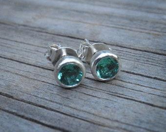 May birthstone Emerald earrings,  4mm round brilliant-cut genuine Emerald earrings, Nostalgic Gift, Statement Jewelry