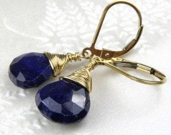 Gold and Sapphire Earrings, Navy Blue Gemstone, Gold Filled, Dangle, Drop, September Birthday, Birthstone, Stone Earrings, Handmade Jewelry