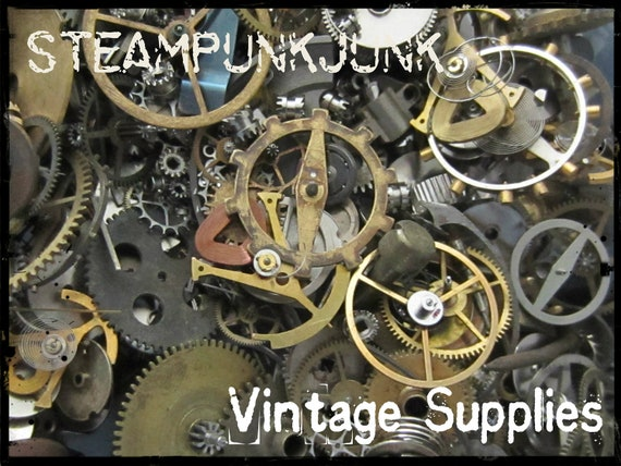 Vintage WATCH PARTS gears - Steampunk parts - P1 Listing is for all the watch parts seen in photos