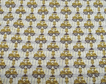 Vintage yellow/brown tractor fabric,yellow/brown fabric,brown fabric,tractor fabric,children fabric,boys clothing,room decoration,cushions